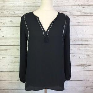 J. Crew tassel black braided trim tunic 0 blouse